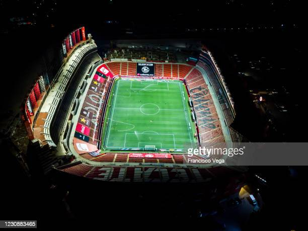 Aerial view of Caliente Stadium prior the 4th round match between Club Tijuana and Toluca as part of the Torneo Guard1anes 2021 Liga MX at Caliente...