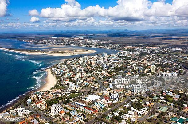 aerial view of caloundra, sunshine coast, queensland, australia - sunshine coast australia stock pictures, royalty-free photos & images