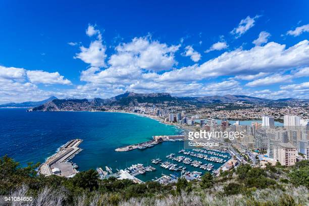 aerial view of calpe-comunidad autonoma de valencia, spain - valencia spain stock pictures, royalty-free photos & images
