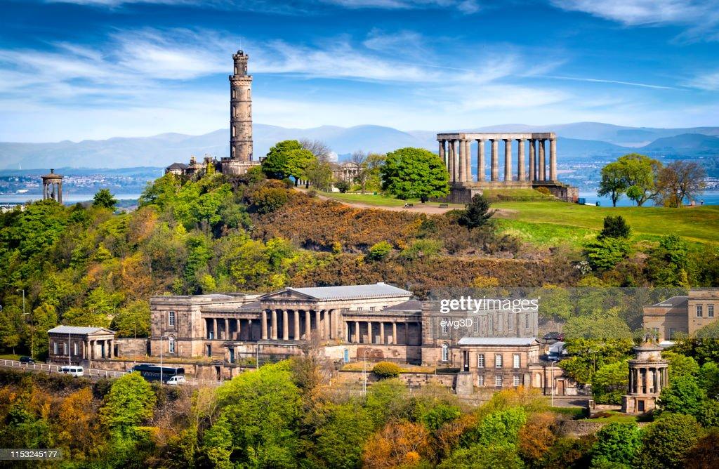 Aerial view of Calton Hill, Edinburgh, Scotland, UK : Stock Photo