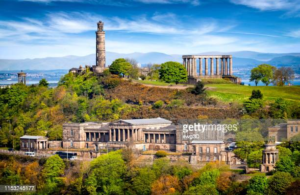 aerial view of calton hill, edinburgh, scotland, uk - new town edinburgh stock photos and pictures