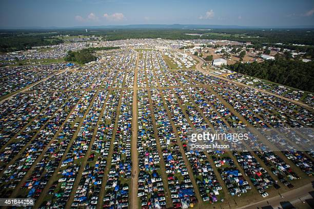 Aerial view of camping and cars during the 2014 Bonnaroo Music Arts Festival on June 15 2014 in Manchester Tennessee