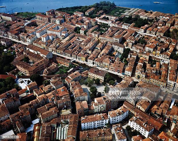 Aerial view of Campo Ghetto Nuovo Venice Veneto Italy
