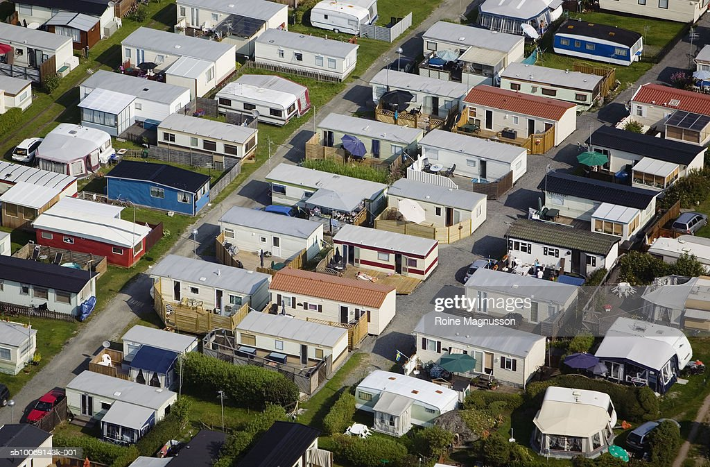 Aerial view of campsite : Stockfoto