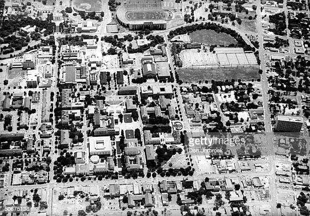 Aerial view of campus of University of Texas where sniper Charle J Whitman shot people from clock tower