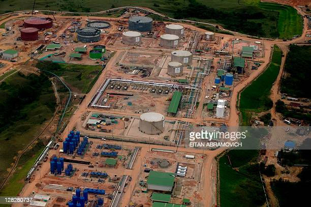 Aerial view of CanadianColombian firm Pacific Rubiales' oil field in Rubiales Meta department eastern Colombia on October 5 2011 Colombia's oil...