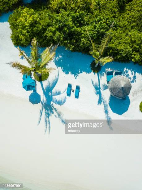 aerial view of canareef resort maldives, herathera island, addu atoll - indian ocean stock pictures, royalty-free photos & images