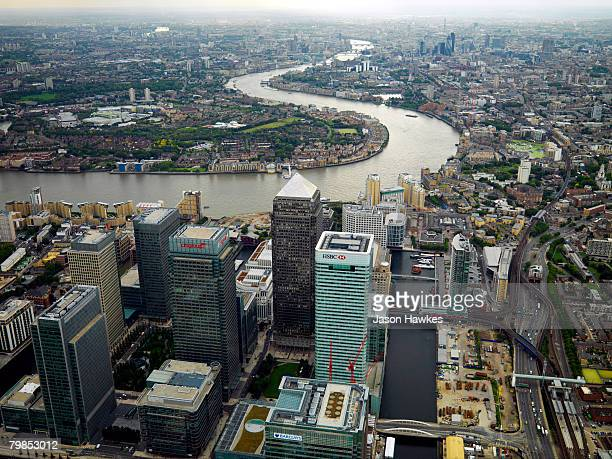 Aerial view of Canary Wharf in the docklands and the City of London on August 28 2007 in London