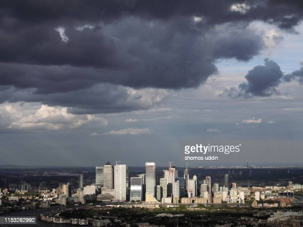 aerial view of canary wharf skyline - isle of dogs london stock pictures, royalty-free photos & images