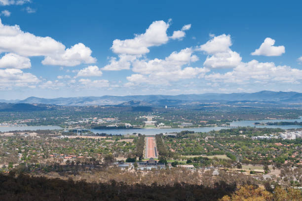 Aerial View Of Canberra Australian Capital City With Griffin Lake And Suburbs.