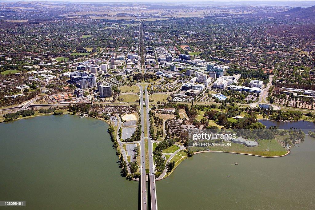 aerial view of canberra australian capital territory australia stock