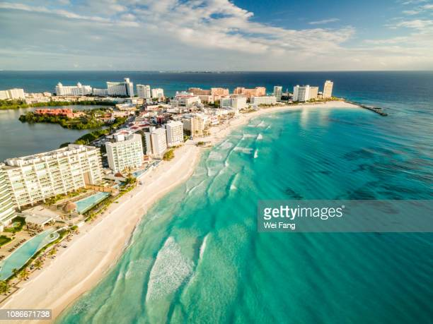 aerial view of cancun beach - cancun stock pictures, royalty-free photos & images