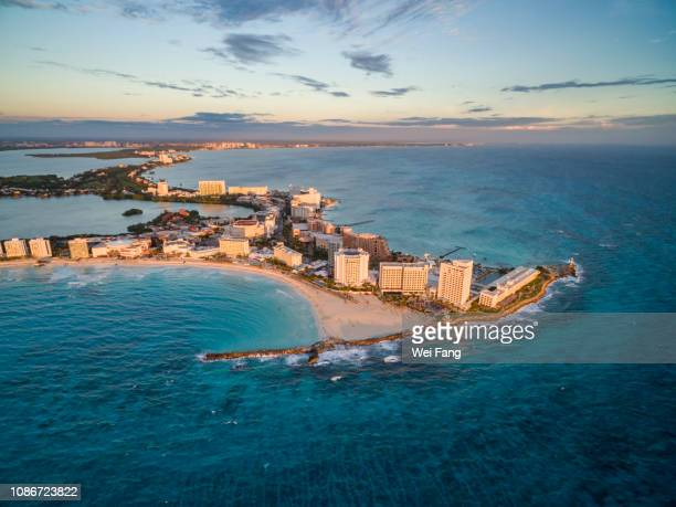aerial view of cancun coastline - cancun stock pictures, royalty-free photos & images