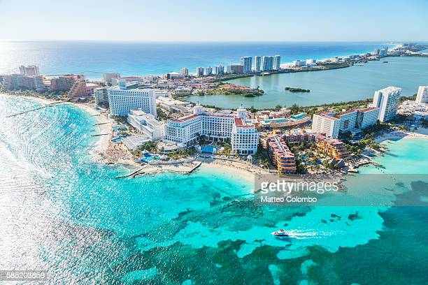 aerial view of cancun hotel zone, mexico - quintana roo stock pictures, royalty-free photos & images