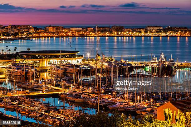 Aerial view of Cannes at sunrise