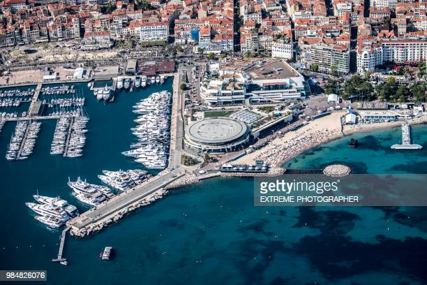 aerial view of cannes - cannes stock pictures, royalty-free photos & images