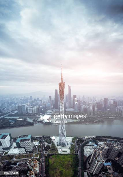 Aerial view of Canton Tower and Zhujiang New Town skyline
