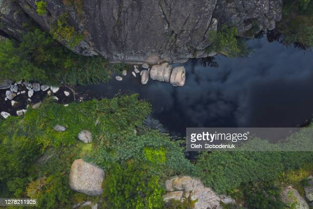 aerial view of canyon in steppe - rock formation stock pictures, royalty-free photos & images
