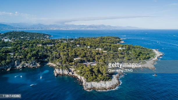 aerial view of cap d'antibes in cote d'azur in south france - アンティーブ ストックフォトと画像