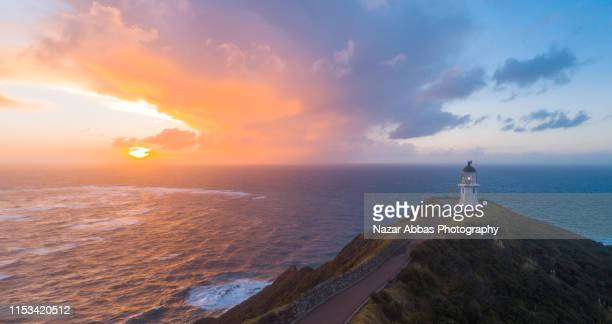 aerial view of cape reinga. - northland new zealand stock pictures, royalty-free photos & images