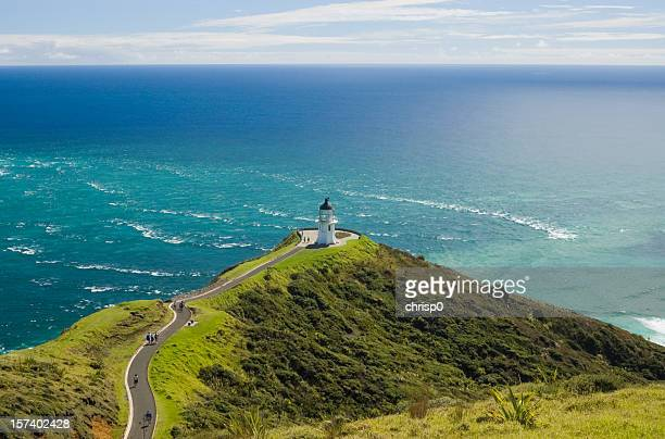 aerial view of cape reinga with a stormy sea - northland new zealand stock pictures, royalty-free photos & images
