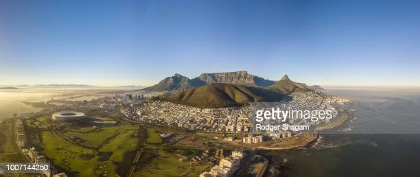 aerial view of cape town and the atlantic seaboard looking south - table mountain stock pictures, royalty-free photos & images