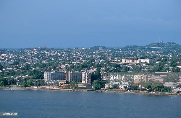 aerial view of capital city libreville & coastline - gabon stock pictures, royalty-free photos & images
