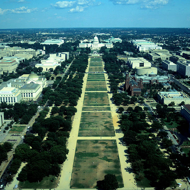 Aerial view of Capitol Building and National Mall