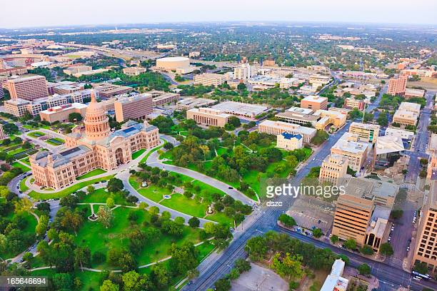 aerial view of capitol building in austin texas - capital cities stock photos and pictures