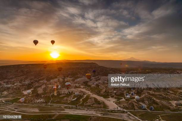 Aerial view of Cappadocia at sunrise, Turkey