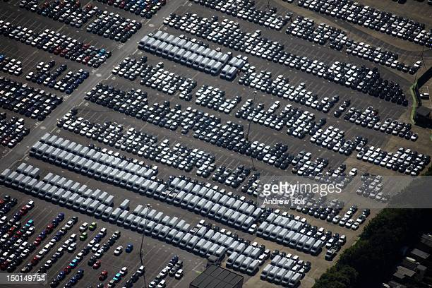 Aerial view of car and van sales park