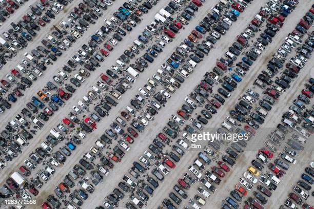 aerial view of car junkyard - dismantling stock pictures, royalty-free photos & images