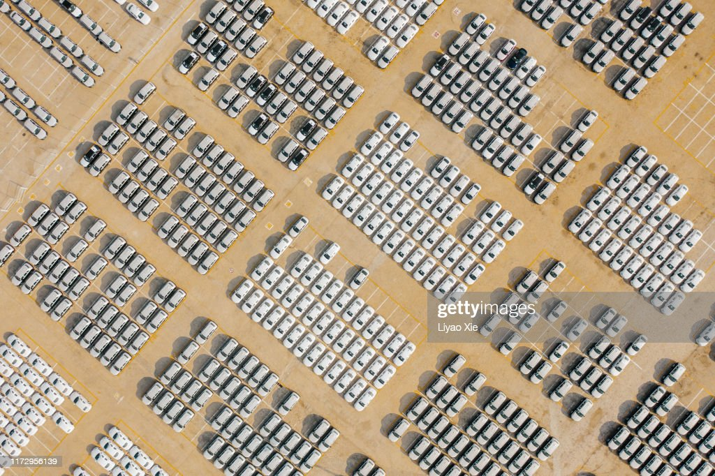 Aerial view of car parking at harbour : Stock Photo