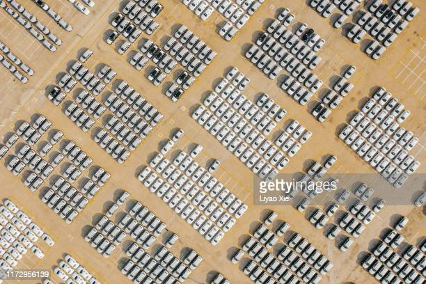 aerial view of car parking at harbour - liyao xie stock pictures, royalty-free photos & images