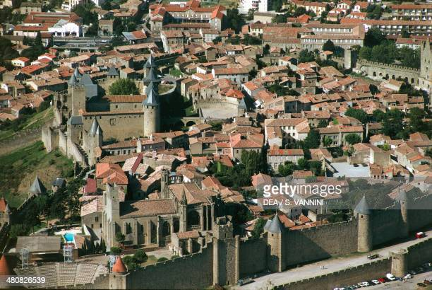 Aerial view of Carcassonne and fortress LanguedocRoussillon France