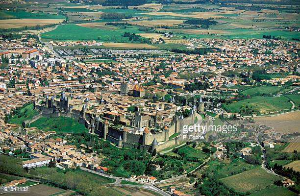 Aerial view of Carcassonne, Aude, France