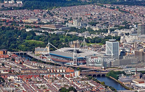 Aerial view of Cardiff City center