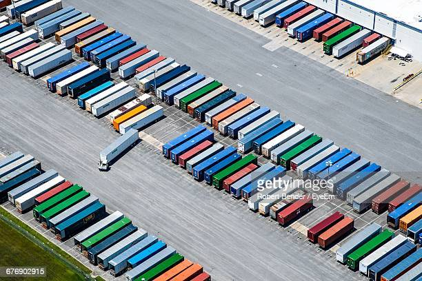 Aerial View Of Cargo Containers In Warehouse
