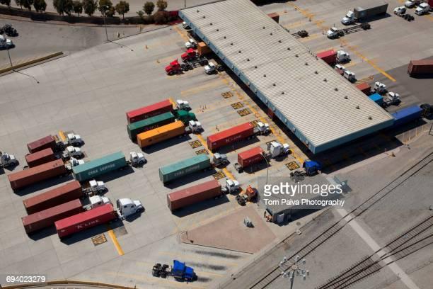 Aerial view of cargo containers on semi-trucks