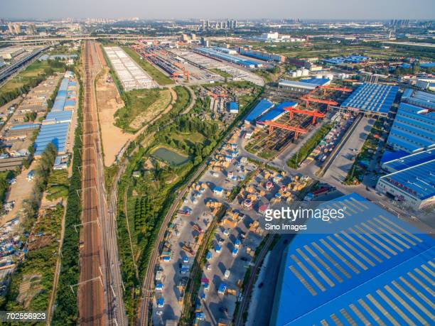 aerial view of cargo in train station - 鄭州市 ストックフォトと画像
