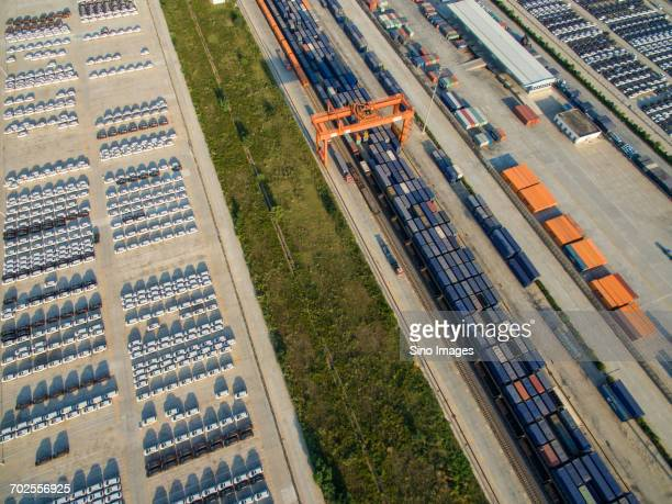Aerial view of cargo in train station