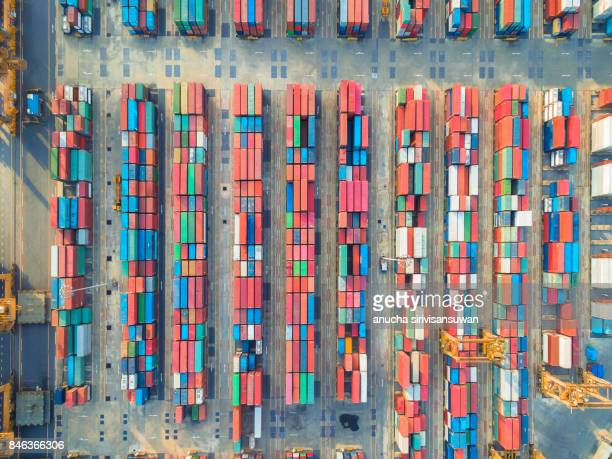 aerial view of cargo ship, cargo container in warehouse harbor at thailand . - 貨物用コンテナ ストックフォトと画像
