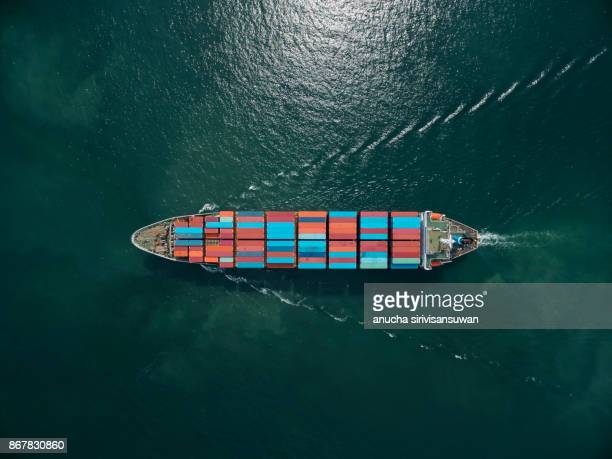aerial view of cargo ship, cargo container in warehouse harbor at thailand . - watervaartuig stockfoto's en -beelden