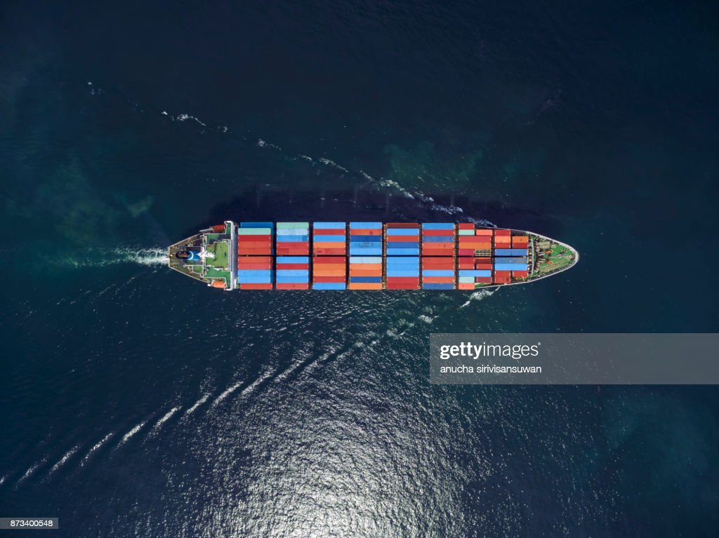 Aerial view of cargo ship, cargo container in warehouse harbor at thailand . : Stock Photo
