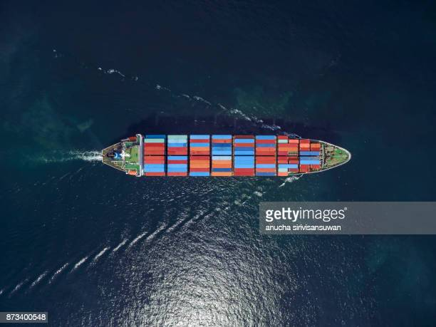 aerial view of cargo ship, cargo container in warehouse harbor at thailand . - cargo ship stock pictures, royalty-free photos & images