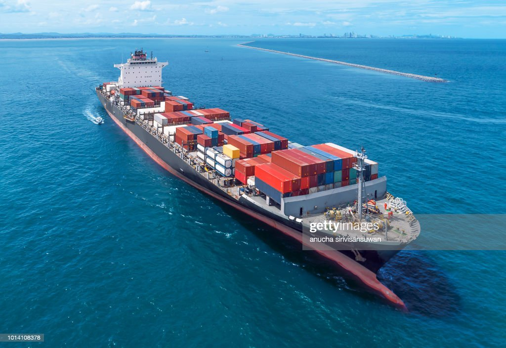 Aerial view of cargo ship runing on sea close warehouse harbor at thailand . : Stock Photo
