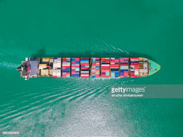 aerial view of cargo ship with containers , top view . - box container stock pictures, royalty-free photos & images