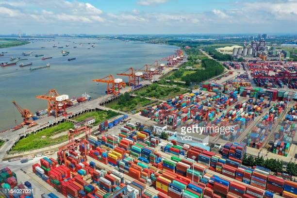Aerial view of cargo ships and containers at Wuhan New Port on June 6 2019 in Wuhan Hubei Province of China