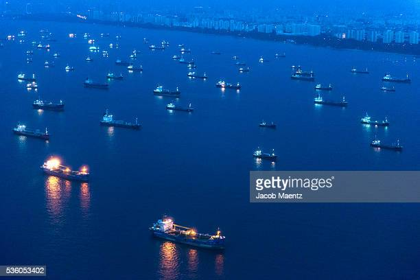 Aerial view of cargo ships in Singapore