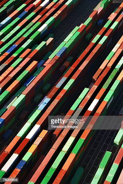 Aerial view of cargo storage containers